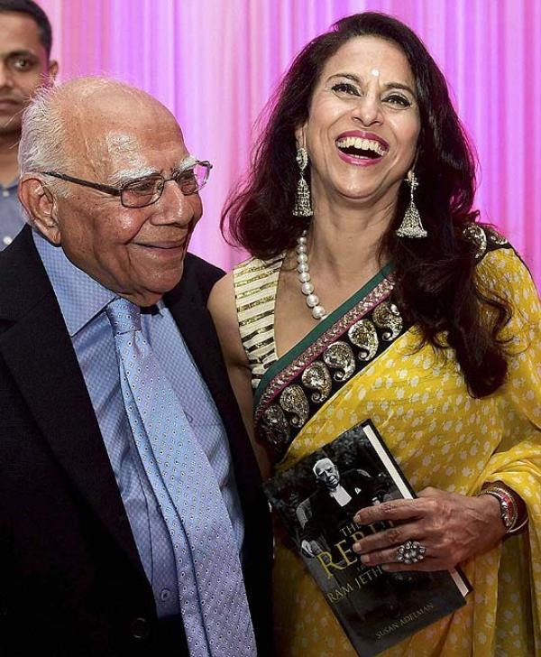 Lawyer Ram Jethmalani with Shobha De during the launch of the book The Rebel