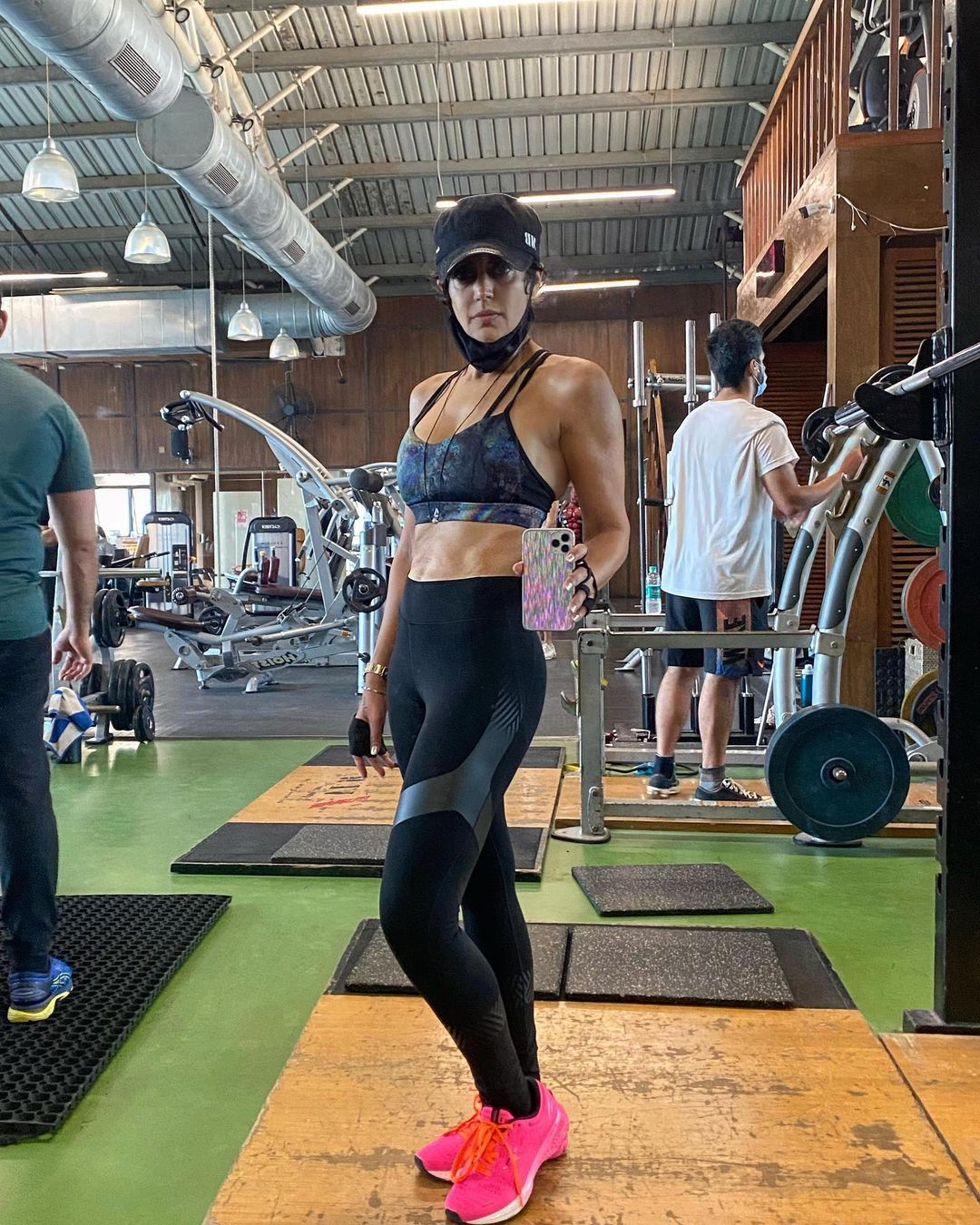 Mandira Bedi while working out at a gym