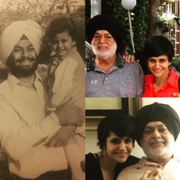 A collage of Mandira Bedi and her father