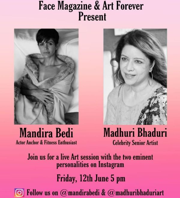 Mandira Bedi on the invitation page of a Live Fitness classes on Instagram