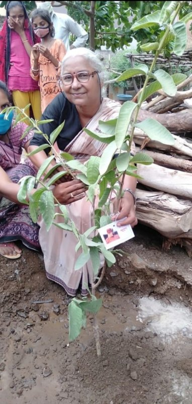 Medha while planting a tree on World environment day in 2021