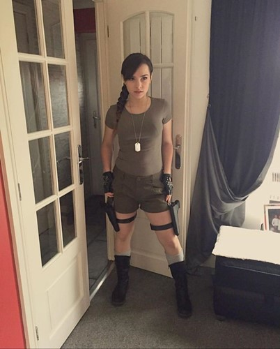 NYYXXII dressed up as the PC game and movie character Tomb Raider