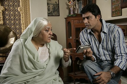 Nadira Babbar with her son-in-law, Anup Soni, in a theatre play