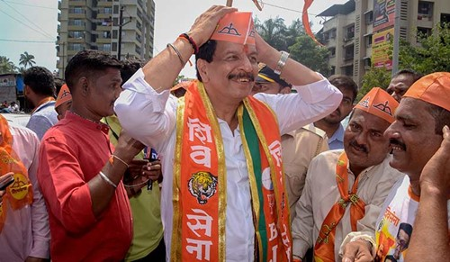 Pradeep Sharma during the electoral campaign for the 2019 Maharashtra assembly elections