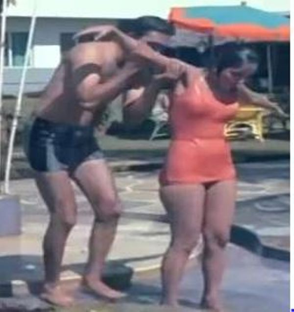Sunil Dutt while helping Sadhana when she slipped into the water during the movie Waqt