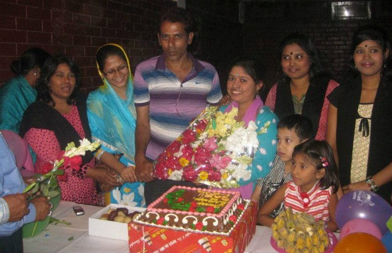 Taslima ( on extreme right) at a birthday event in Dhaka