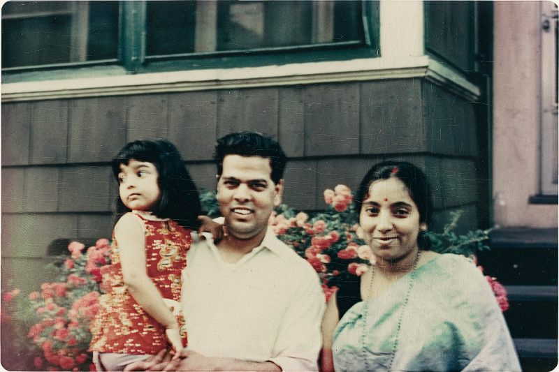 A childhood photo of Jhumpa with her parents