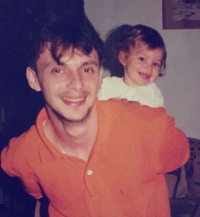 A childhood picture of Petra Vučković with her father