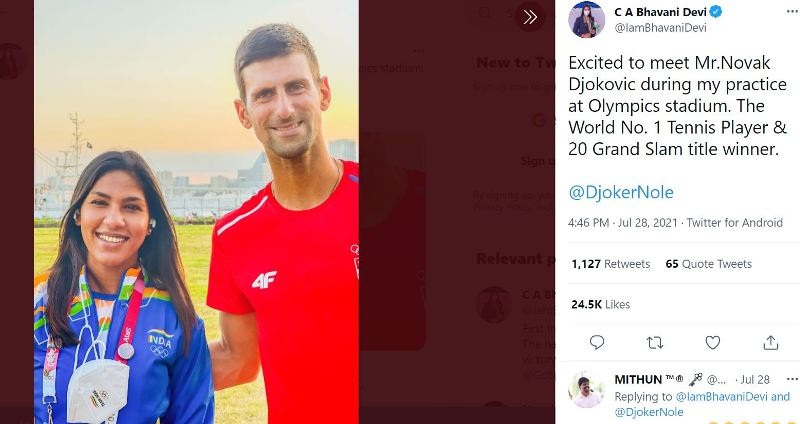A picture shared by Bhavani Devi on her Twitter account after meeting Novak Djokovic in July 2021