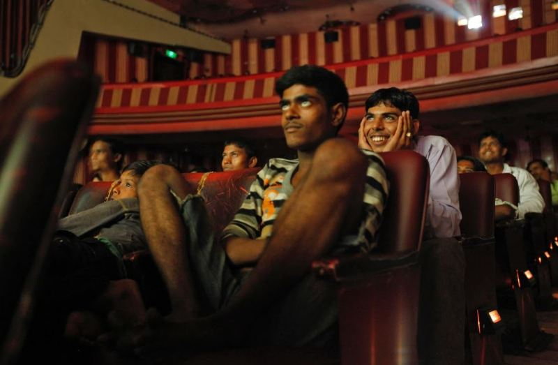 A picture shot by Danish, at a cinema hall, when people were watching the Indian movie Dilwale Dulhania Le Jayenge