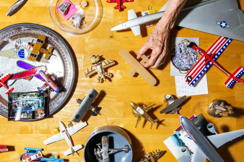 A portion of Wally Funk's collection of space and aviation memorabilia she's accumulated over the years