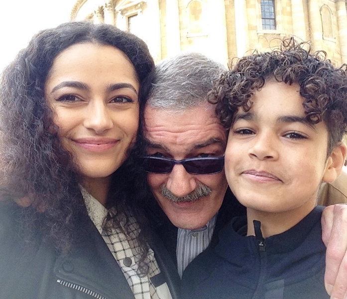Amir Wilson with his father and his sister Imaan