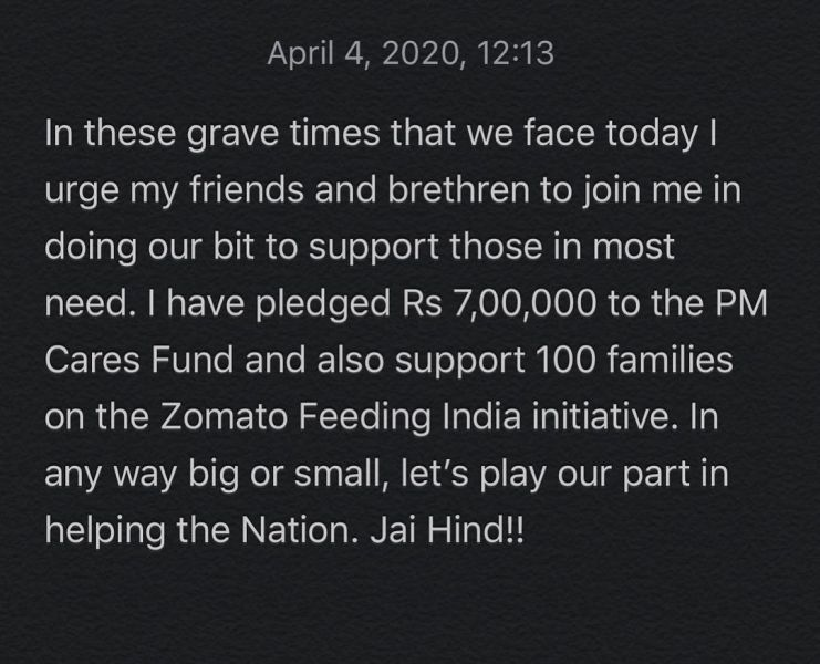 Anirban Lahiri's Instagram post when he donated money to PM CARES Fund in 2020