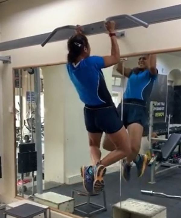 Ankita while working out at a gym (a screenshot of a video)