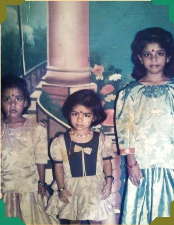 Childhood picture of C A Bhavani Devi (centre) with her two elder sisters