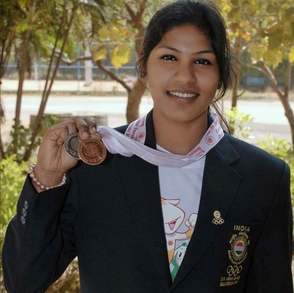 Bhavani Devi while winning an individual bronze and team silver medal at Junior Commonwealth Fencing Championship 2012 , New Jersey, UK