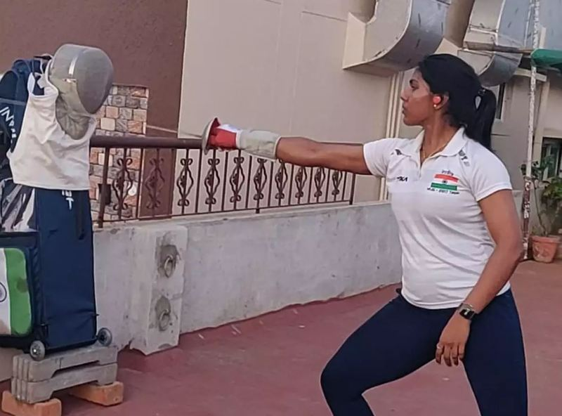 C A Bhavani Devi while practising fencing at home