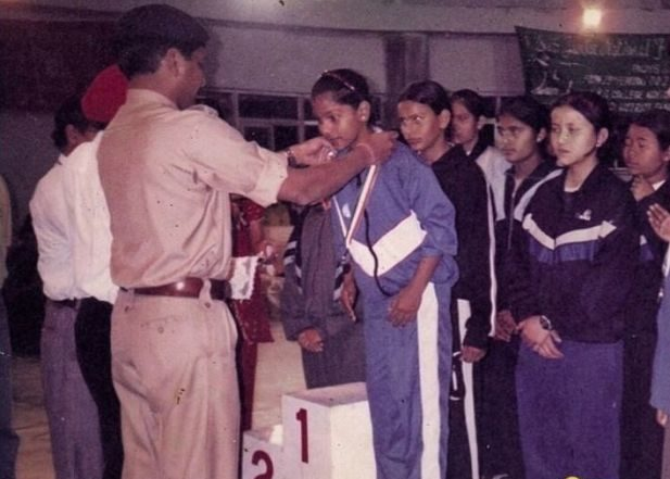 C A Bhavani Devi while receiving her first medal in childhood