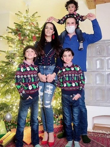 Celina Jaitly with her husband and sons