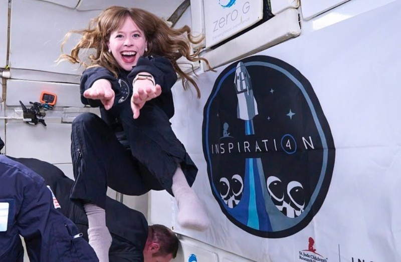 Hayley while receiving her space training in June 2021