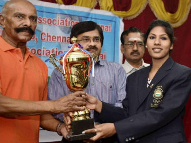 Indian Fencer C A Bhavani Devi while reciveing the trophy after winning gold medal in 2017