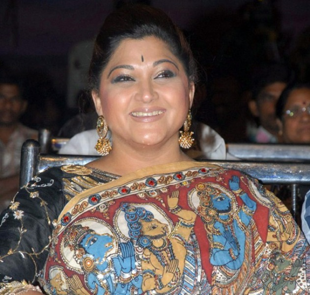 Khushbu while wearing a saree on which Hindu Gods' pictures were printed