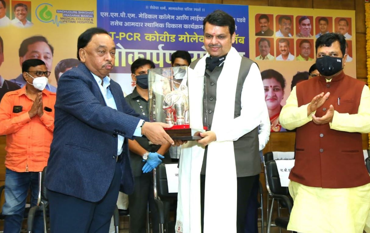 Narayan Rane while inaugurating a COVID19 centre at SSPM Medical College & Lifetime Hospital in Kasal Padve in Sindhudurg district in Maharashtra
