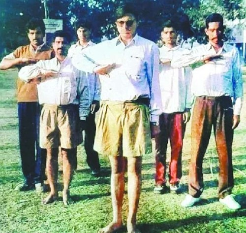 Pushkar Singh Dhami during his time in RSS