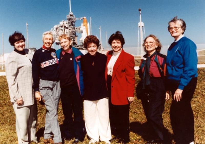 Seven of the pioneering Mercury 13, including Wally Funk (second left)