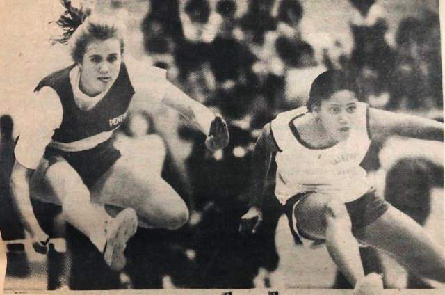 Sian Proctor during a track and field competition in her school days