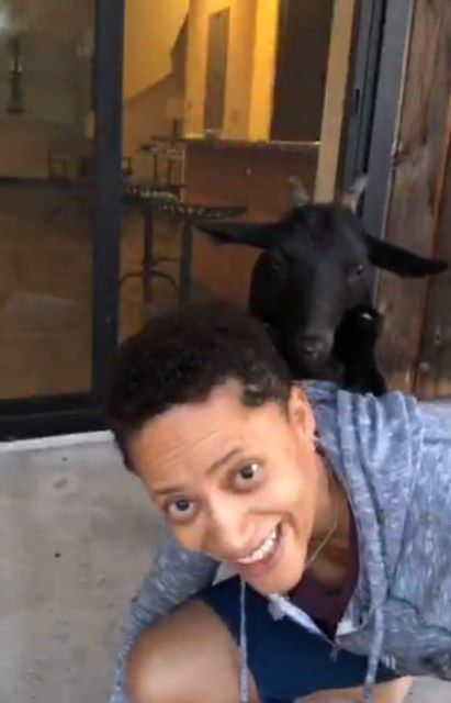 Sian Proctor with her pet goat