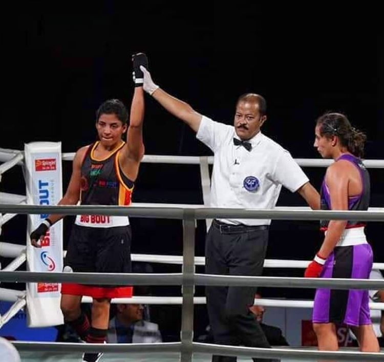 Simranjit Kaur in a boxing event