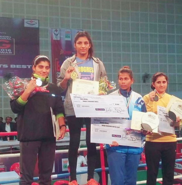 Simranjit Kaur with a gold medal