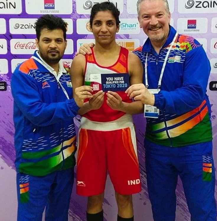 Simranjit Kaur with her ticket to the Tokyo Olympics 2020