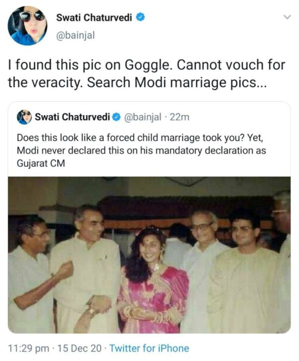 Swati Chaturvedi's Twitter post related to Narender Modi and his fake marriage