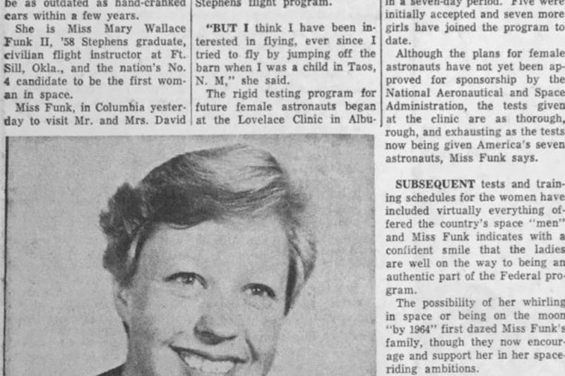 Wally Funk featured in a newspaper in 1961
