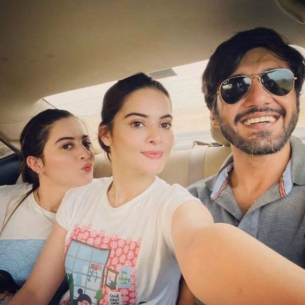 Ahsan Mohsin Ikram with Minal and her twin sister Aiman Khan