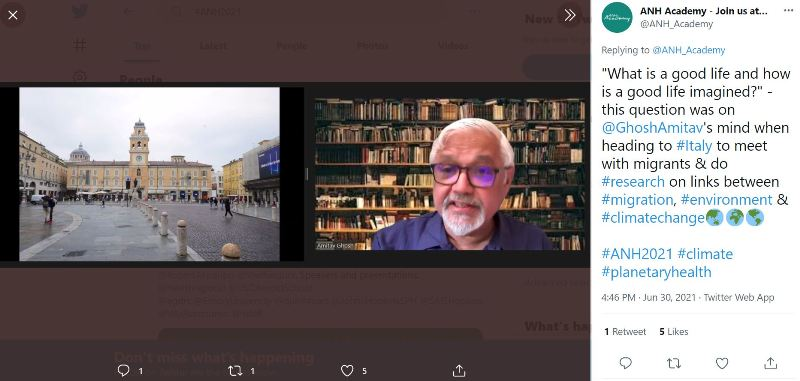 Amitav Ghosh's tweet on his recent research in Italy