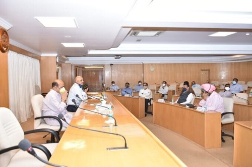 Basavaraj Bommai during a meeting with his cabinet members
