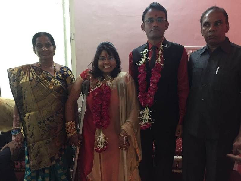 Bhavina Patel with her husband and parents