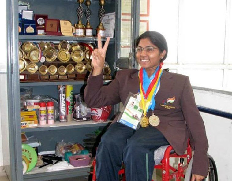 Bhavina Patel with her medals and trophies