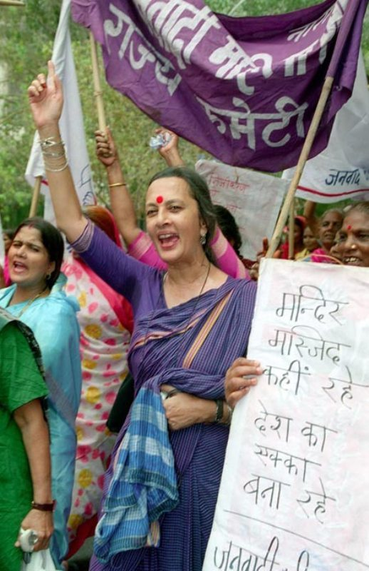 Brinda Karat while campaigning for a movement