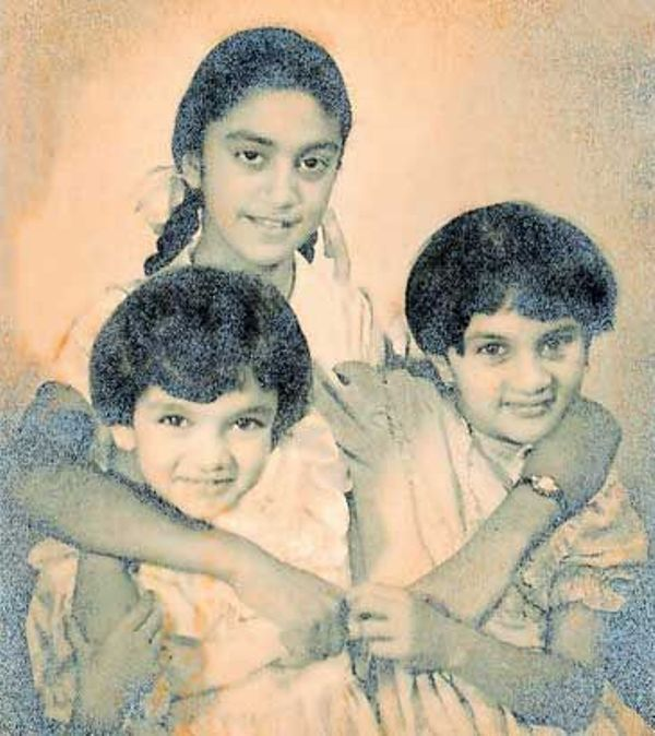 An old picture of Brinda with her sisters Radhika and Juni