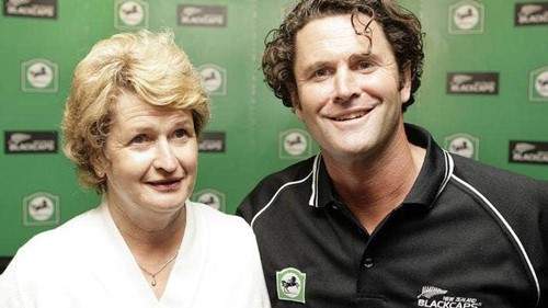 Chris Cairns with his mother, Sue Wilson