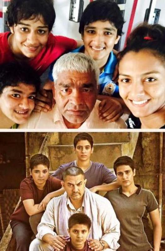 Dangal movie poster (below), real life Phogat family photo (above)