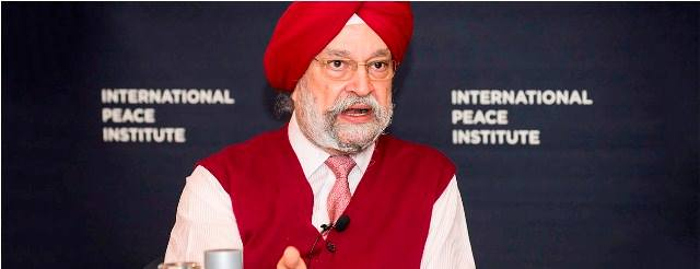 Hardeep Singh Puri during a talk session at the International Peace Institute (IPI)