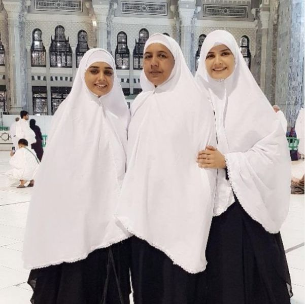 Kiran Haq with her mother and sister at the holy place of Mecca
