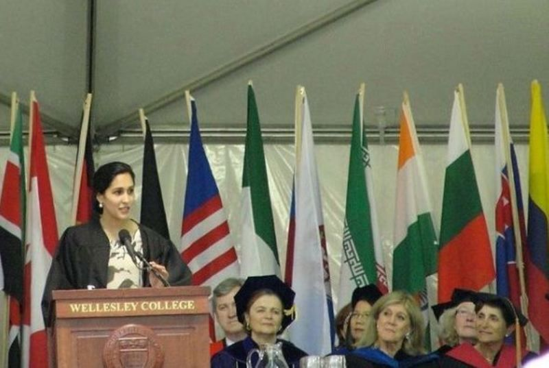 Mira Sethi delivering a speech in her university name Wellesley College
