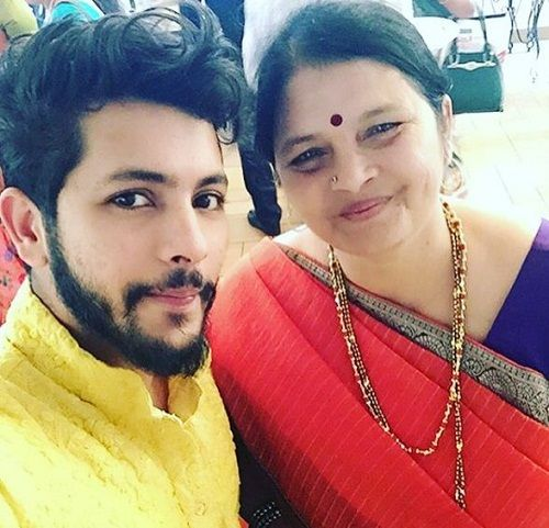 Nishant Bhat with his mother