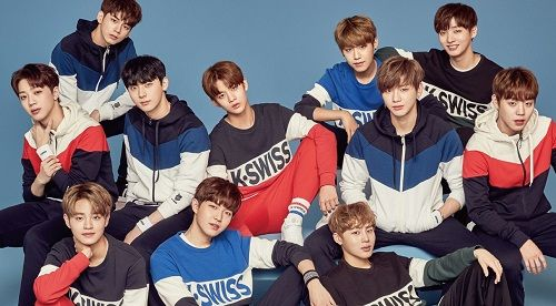 Ong Seong-wu with his fellow 'Wanna One' members